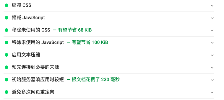 Google pagespeed results