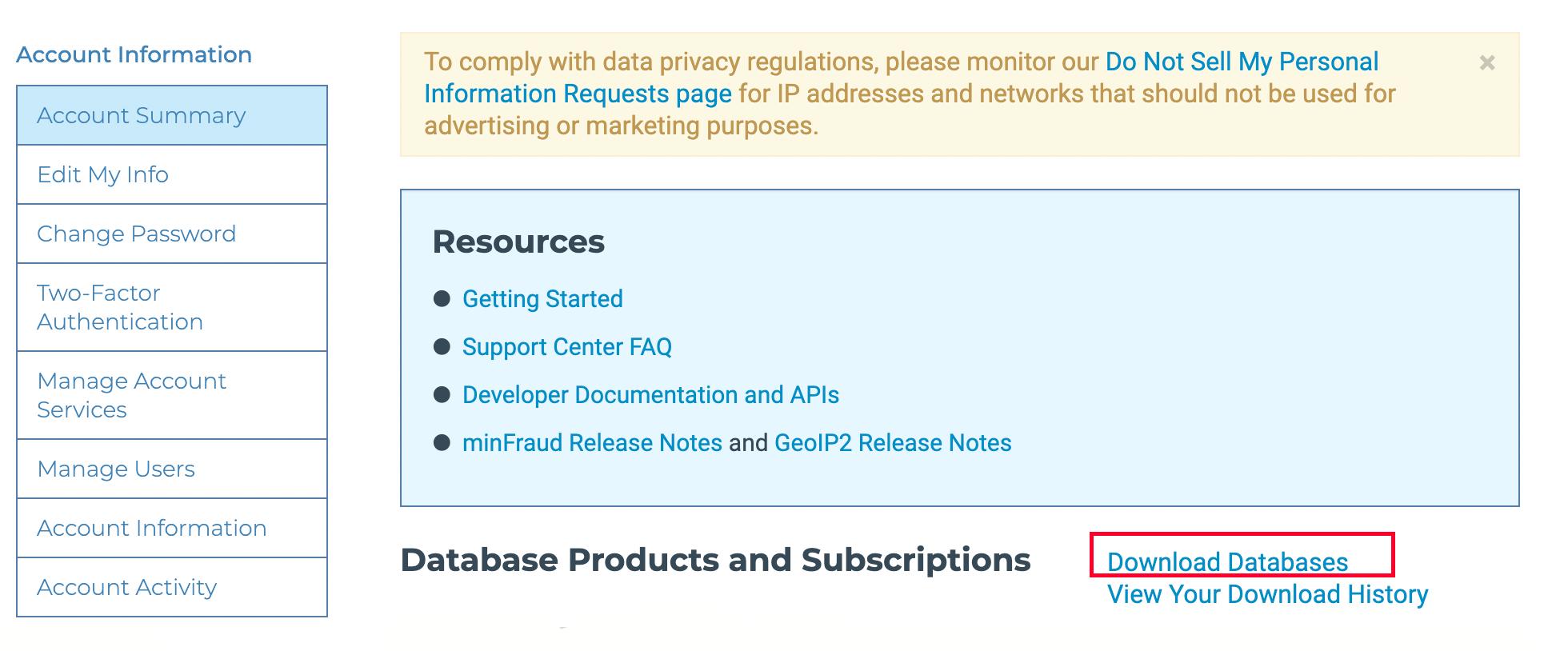 GeoLite2 - 注册并登陆账号门户/用户中心(account portal) - 点击 Download Databases .png