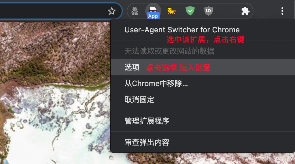 找到 User-Agent Switcher for Chrome 点击右键 - 选项 - 进入设置.png.png